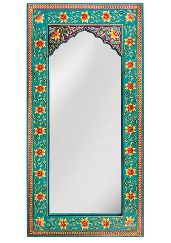 Mirror Hand Painted Turquoise Floral Indian