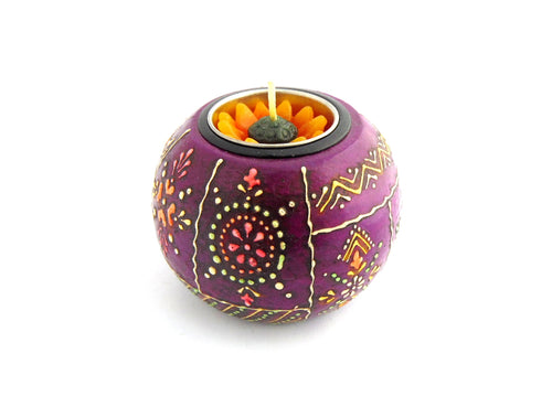Purple Chunky Wooden Handpainted Tealight Holder