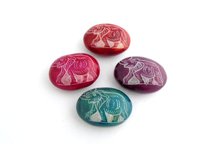 Oval Elephant Carved Soapstone