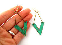 Turquoise Green V Shape Earrings