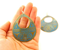 Large Teardrop Brass Earrings