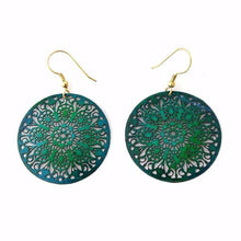 Blue Green Cut Out Mandala Earrings