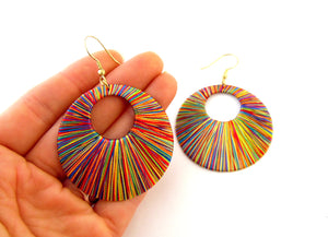 Multi Coloured Threaded Earrings