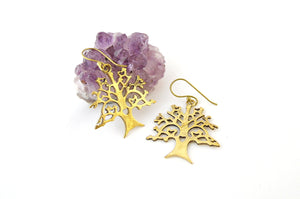 Brass Tree of Life Earrings