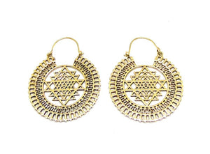 Sri Yantra Sacred Geometry Brass Earrings