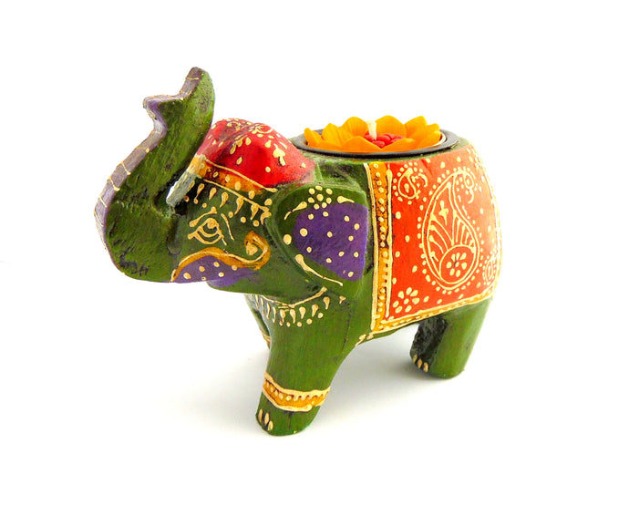 Green Elephant Wooden Tealight Holder