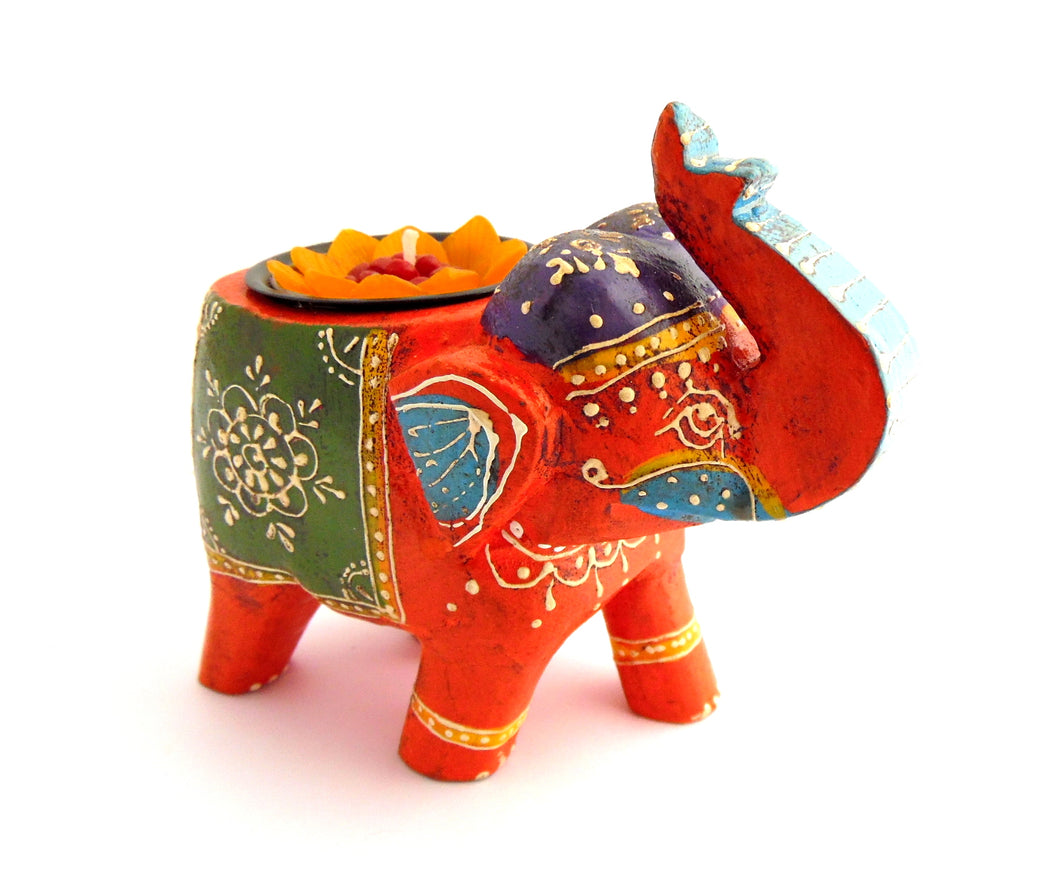 Orange Elephant Wooden Tealight Holder