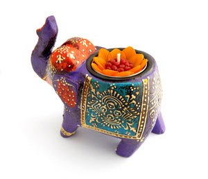Purple Elephant Wooden Tealight Holder