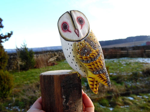 Barn Owl Hand Painted Wooden Ornament