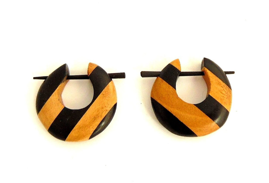 Striped Crescent Wooden Earrings