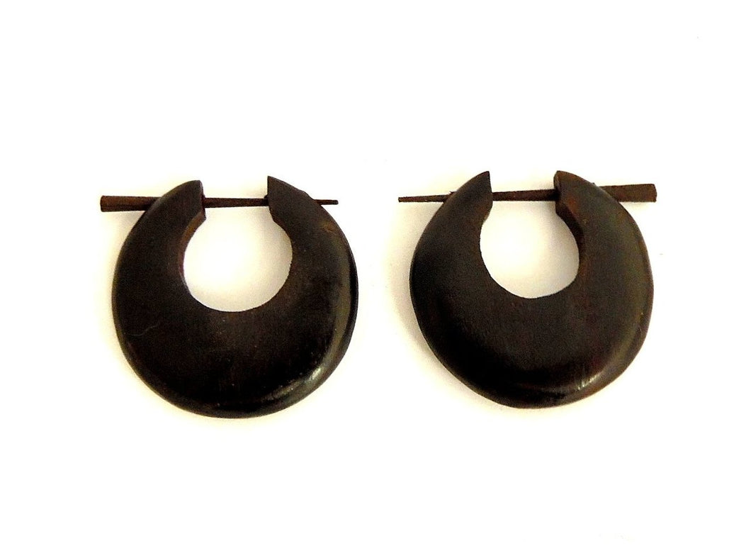Dark Crescent Wooden Earrings