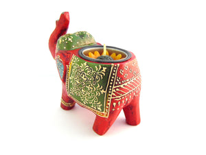 Red Elephant Wooden Tealight Holder