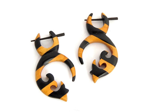 Striped Wooden Tribal Earrings