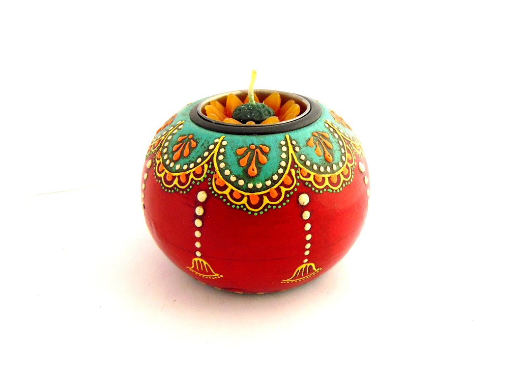Hand Painted Wooden Tealight Holder, Red & Teal