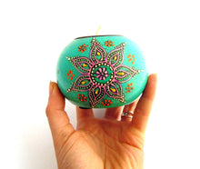 Wooden Hand Painted Tealight Holder, Turquoise Teal