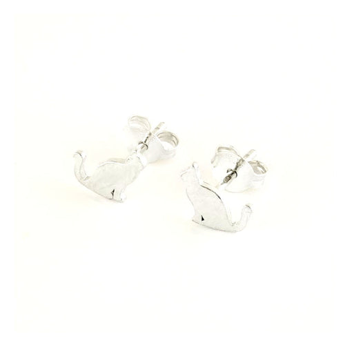 Cat Sterling Silver Stud Earrings