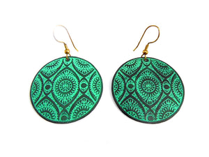 Turquoise Green Round Metal Disc Earrings