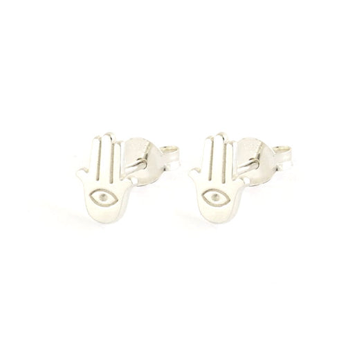 Hamsa Hand Sterling Silver Stud Earrings