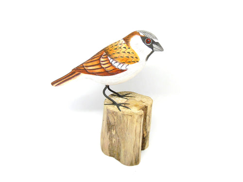 House Sparrow Hand Painted Wooden Ornament