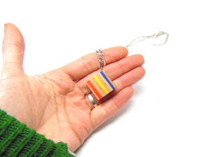 Pencil Crayon Cube Necklace