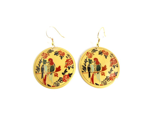 Parrot Gold Tone Earrings