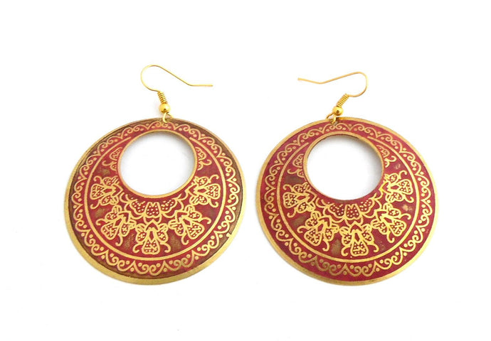 Pink Brass Cut Circle Earrings