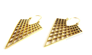 Pointed Cross Hatch Brass Earrings ~ Hand Crafted In India