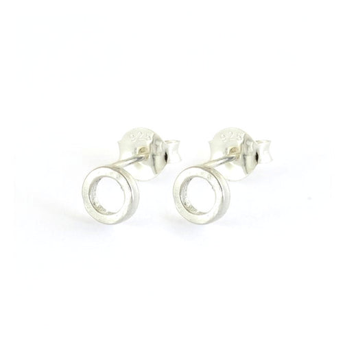 Round O Sterling Silver Stud Earrings
