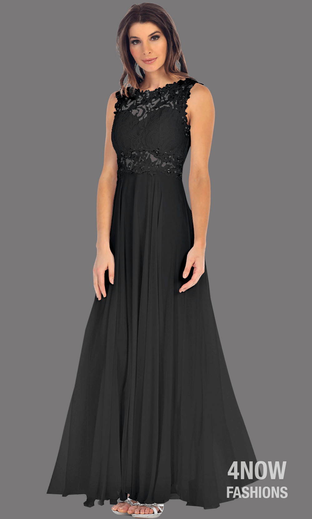 Long Black High Neck Dress with Chiffon A-line Skirt