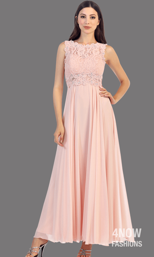 Long Blush High Neck Dress with Chiffon A-line Skirt