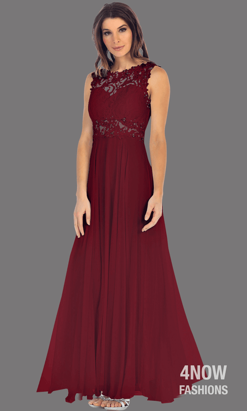 Long Burgundy High Neck Dress with Chiffon A-line Skirt