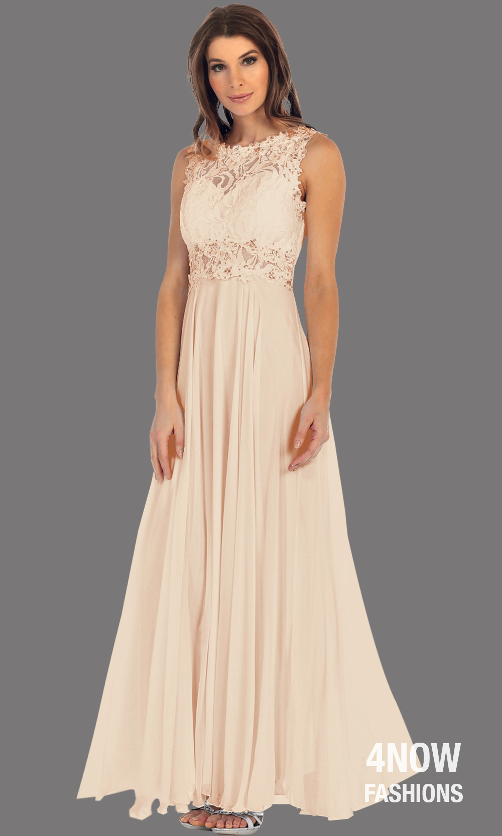 Long Champagne High Neck Dress with Chiffon A-line Skirt