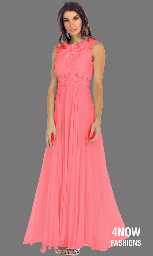 Long Coral High Neck Dress with Chiffon A-line Skirt