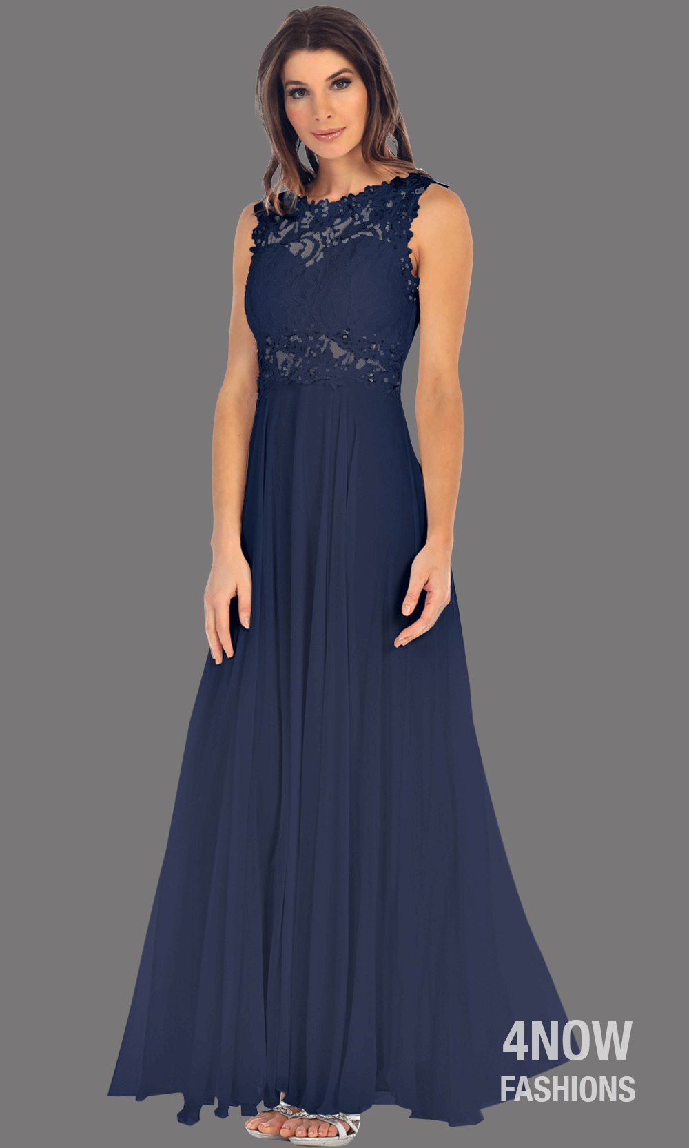 Long Navy High Neck Dress with Chiffon A-line Skirt