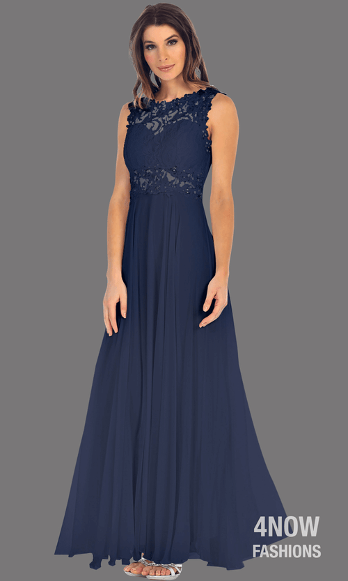 Long Royal Blue High Neck Dress with Chiffon A-line Skirt