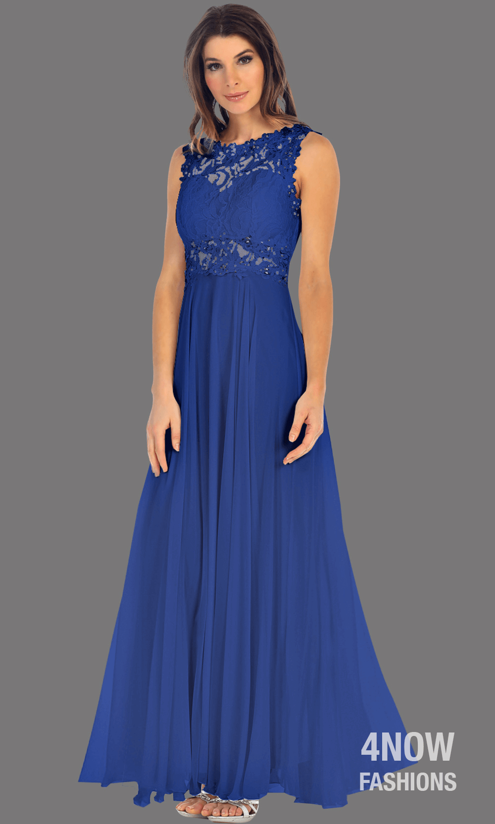 d0f0cb0b66 Long Royal Blue High Neck Dress with Chiffon A-line Skirt – 4Now Fashion