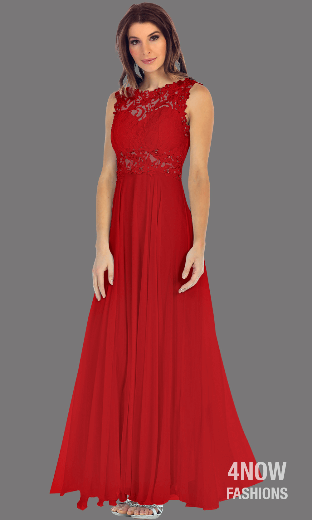 Long Red High Neck Dress with Chiffon A-line Skirt