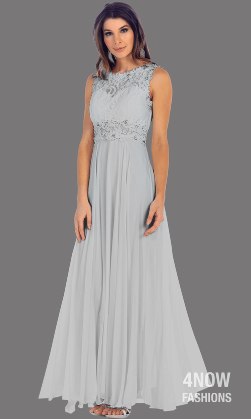 Long Gray High Neck Dress with Chiffon A-line Skirt