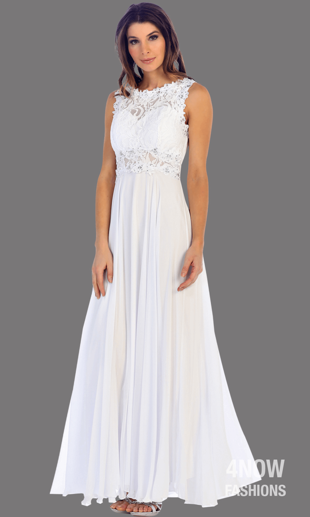 Long White High Neck Dress with Chiffon A-line Skirt