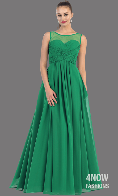 Emerald Chiffon Illusion Neckline Dress