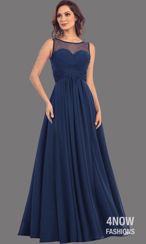 Navy Chiffon Illusion Neckline Dress
