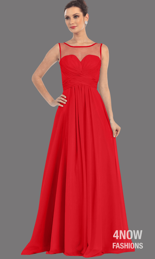 Red Chiffon Illusion Neckline Dress