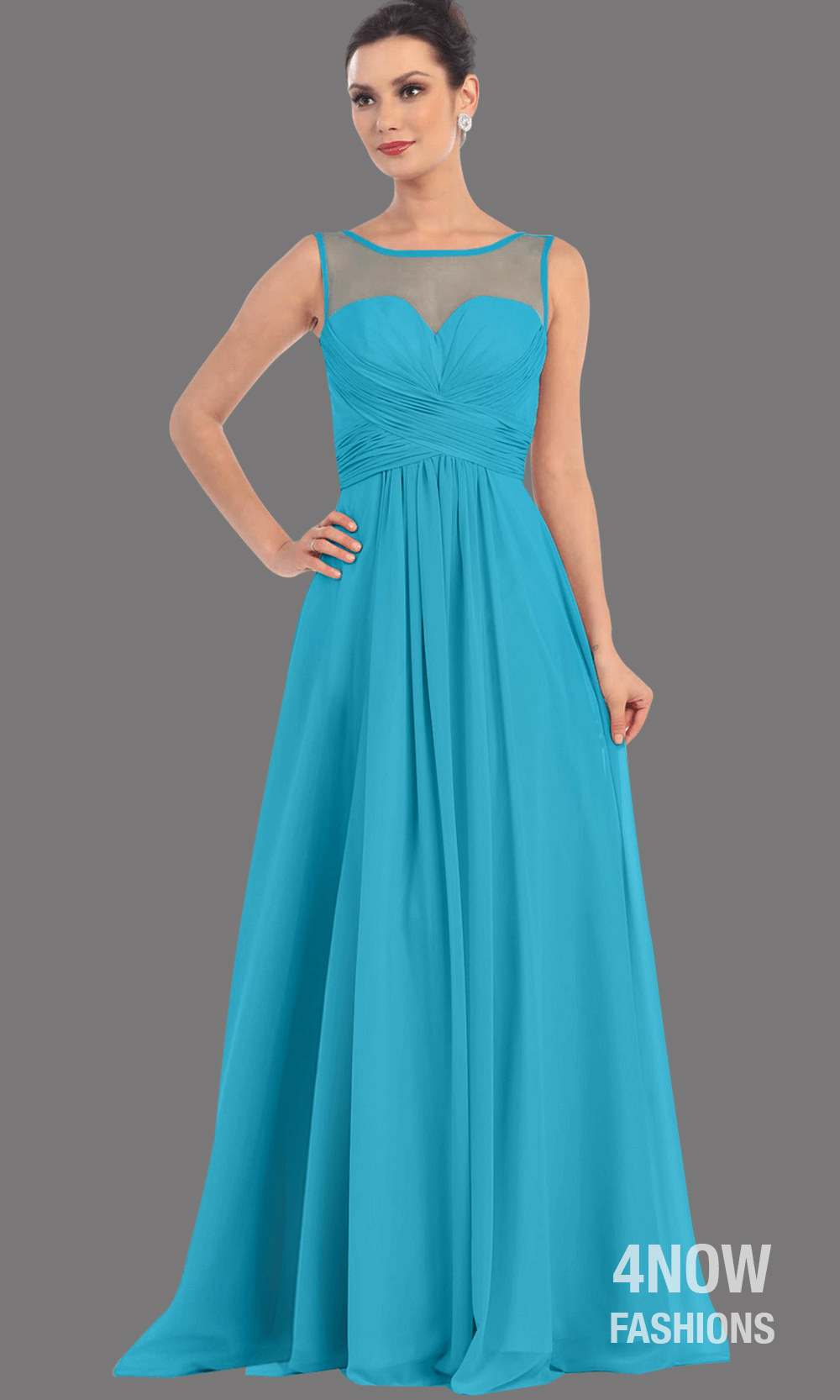 Turquoise Long Illusion Neckline Dress