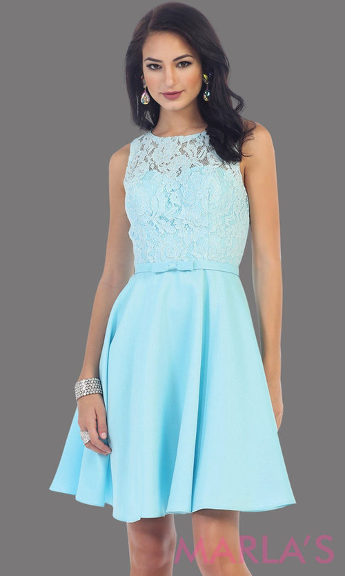 Short simple  semi formal aqua blue dress with lace bodice and satin skirt. Light blue dress is perfect for grade 8 grad, graduation, short prom, damas quinceanera, confirmation. Available in plus sizes.
