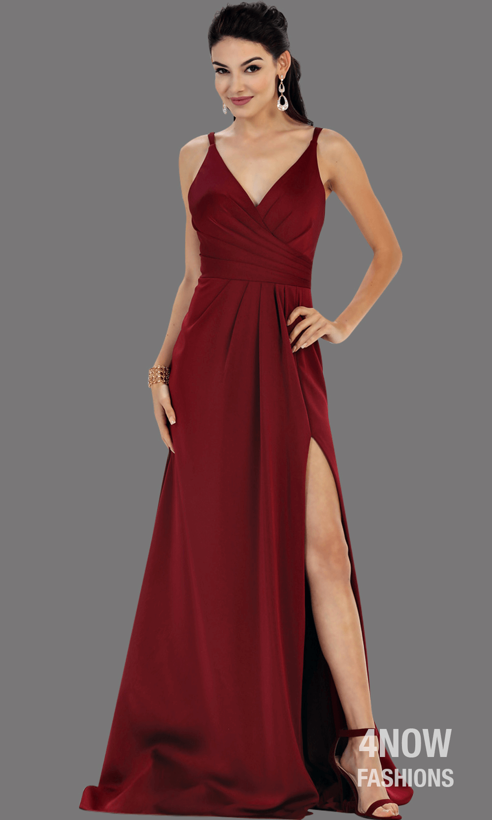 Red High Slit Fitted Dress