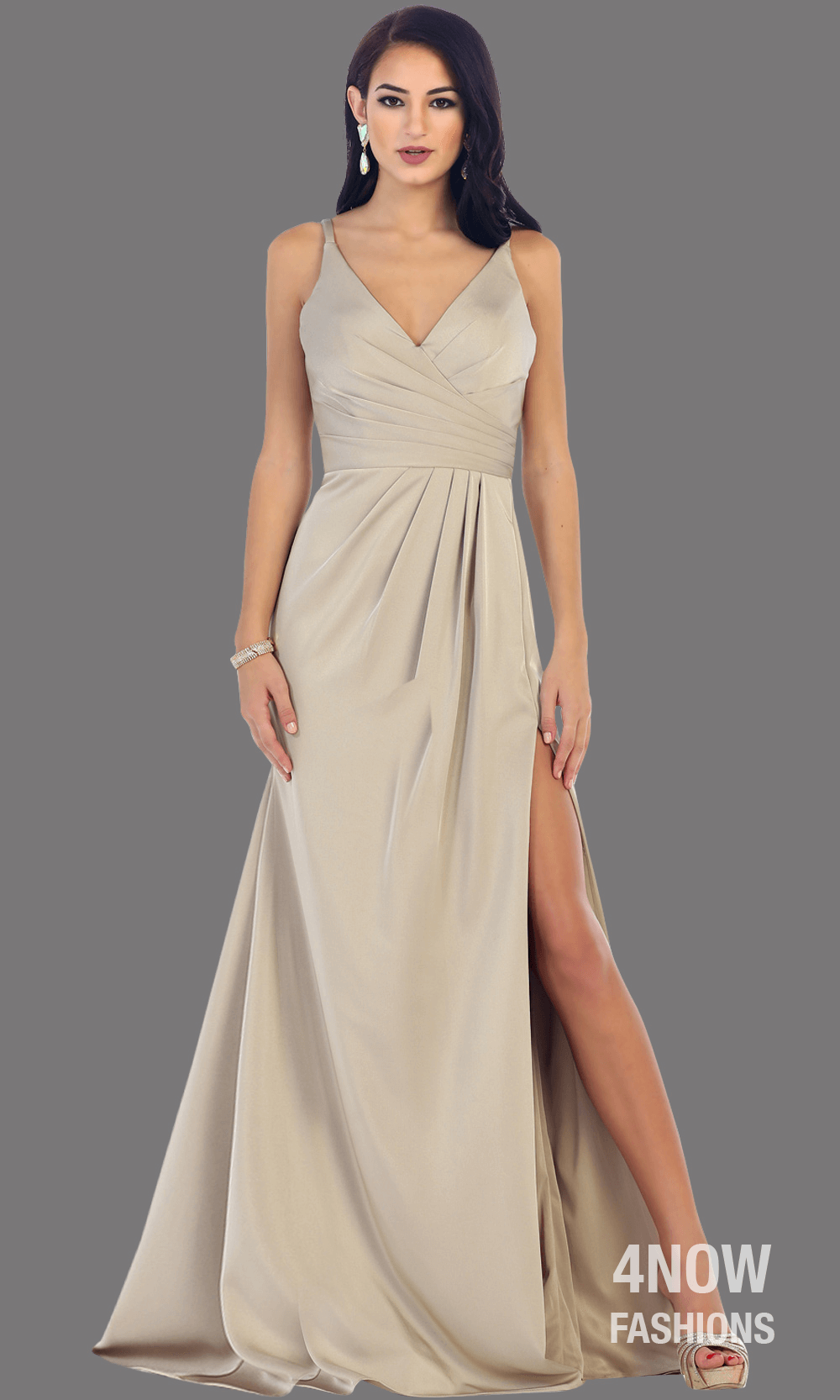 Silver High Slit Fitted Dress
