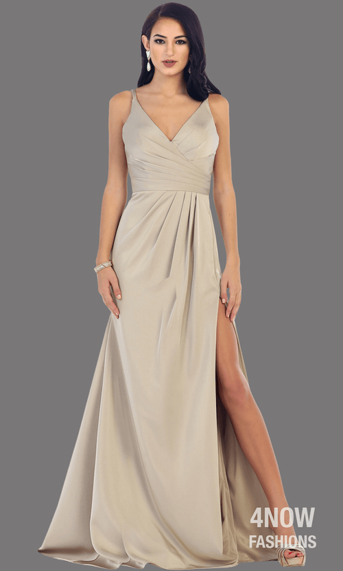 Taupe High Slit Fitted Dress