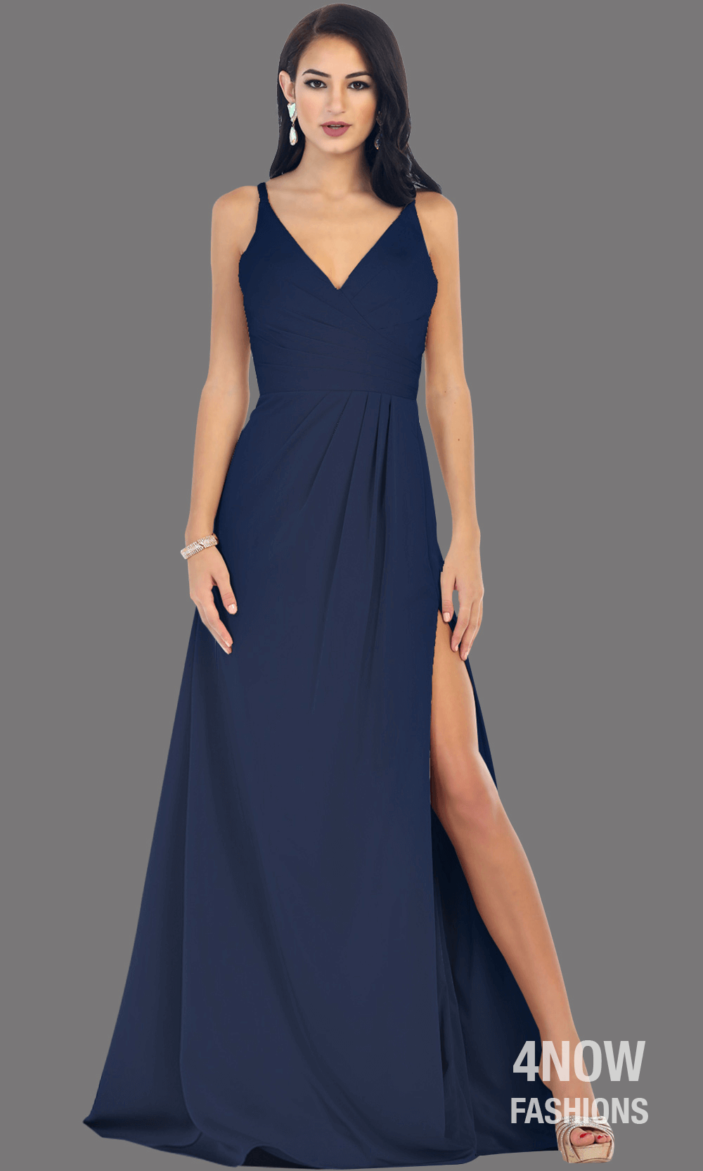 Navy High Slit Fitted Dress