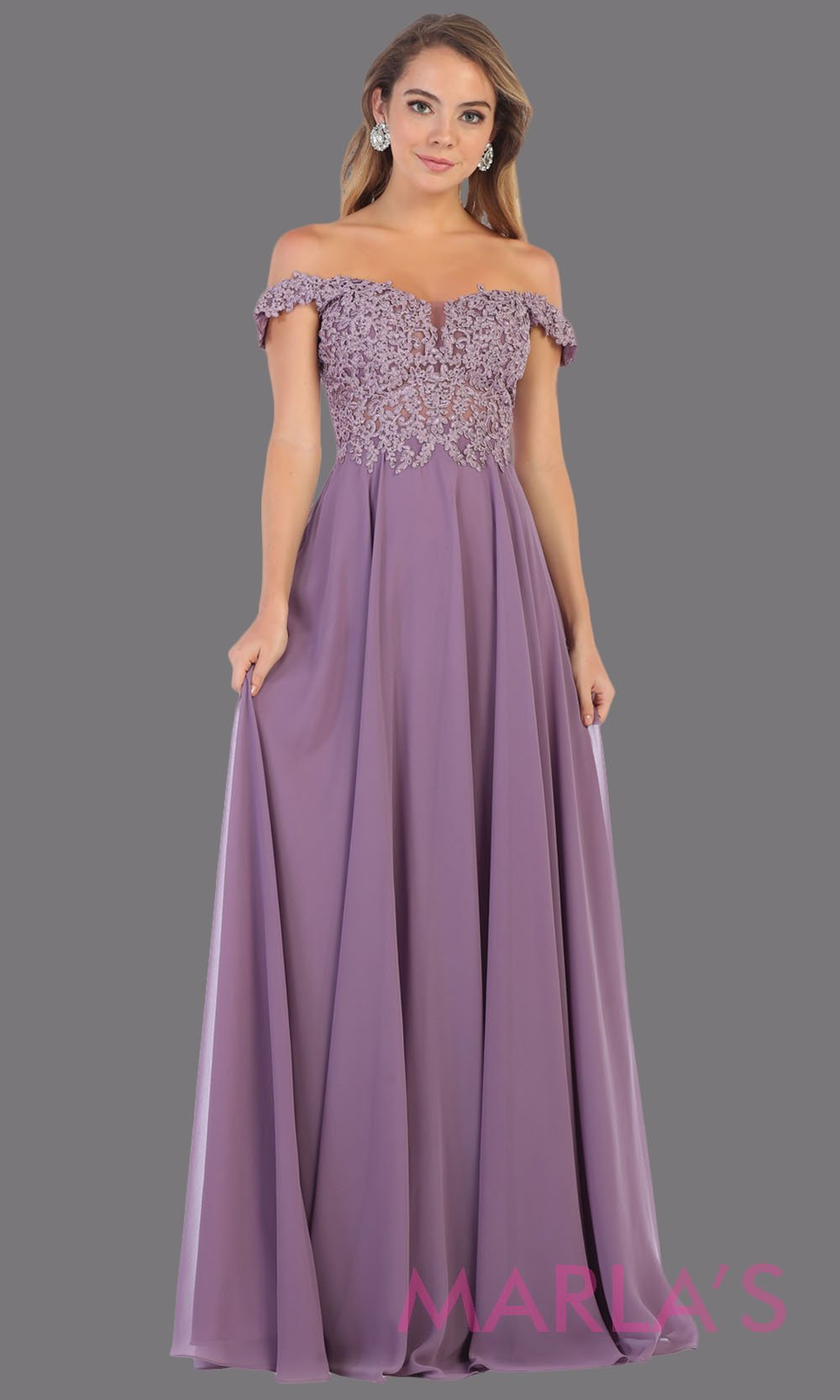 Long flowy lilac off shoulder dress with corset and lace top. This light purple gown is perfect for bridesmaids, simple wedding guest dress, formal party, plus size wedding guest dress, modest gown, indowestern gown
