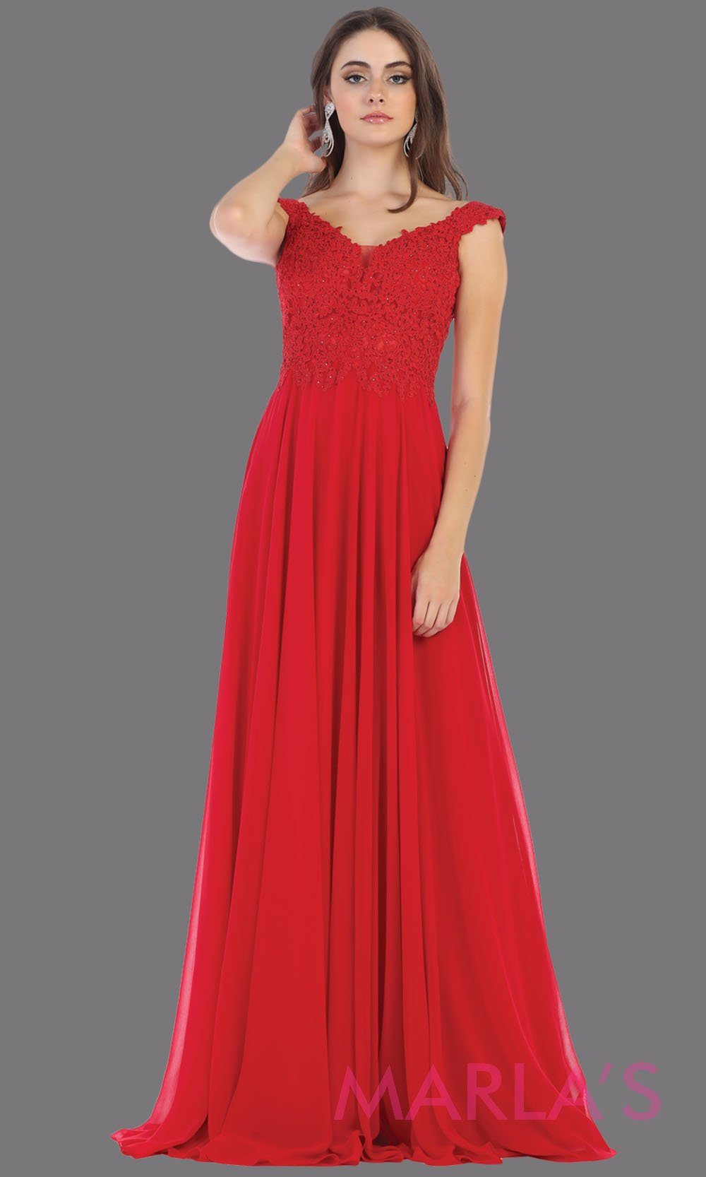 Long flowy red off shoulder dress with corset back and lace top. This red a-line gown is perfect for bridesmaids, simple wedding guest dress, formal party, plus size wedding guest dress, modest gown, indowestern gown